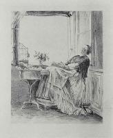 Адольф фон Менцель. Заснувшая у окна вышивальщица, первое состояние
