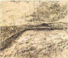 Винсент Ван Гог. Пшеничное поле с солнцем и облаками