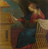 Гауденцио Феррари. Благовещение, Дева Мария (правая панель)