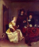 Герард тер Борх Младший. Молодая девушка, играющая на теорбе, и двое мужчин