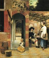 Питер де Хох. Двое мужчин и женщина в беседке