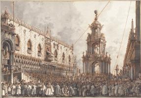 Джованни Антонио Каналь (Каналетто). Фестиваль «Жирный четверг» перед Дворцом дожей в Венеции