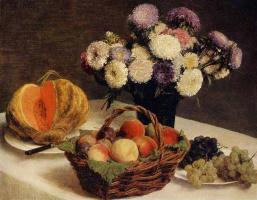 Анри Фантен-Латур. Астры и фрукты