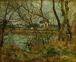 Camille Pissarro. Cloudy day on the banks of the Oise near PONTOISE