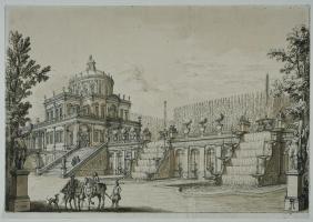 Джузеппе Валериани. Дворец с террасой фонтанов и всадниками на переднем плане