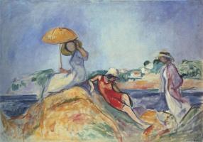 Анри Лебаск. Три женщины на берегу моря