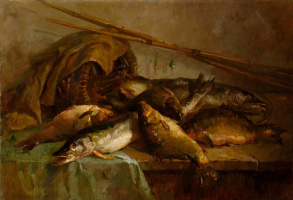 Виктор Пантелеймонович Мещеряков. Натюрморт с рыбами