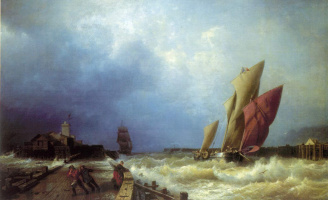 Alexey Petrovich Bogolyubov. The entrance of the fishing vessel in a storm in the harbour of Saint-valéry in Caux