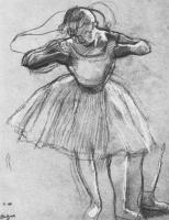 Эдгар Дега. Балерина, поправляющая платье, в боковом освещении