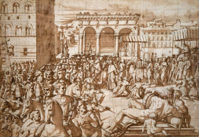 Giorgio Vasari. The procession of Pope Leo X through the square Signorini in Florence