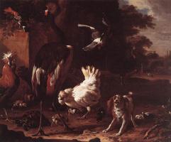 Мельхиор де Хондекутер. Птицы и спаниель в саду