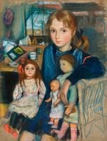 Zinaida Serebryakova. Daughter Katya with dolls