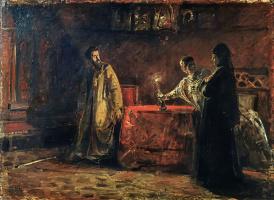 Николай Николаевич Ге. Царь Борис и царица Марфа. Эскиз неосуществленной картины