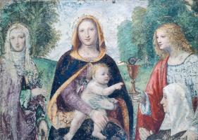 Бернардино Луини. Мадонна с Младенцем и святыми