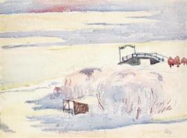 Джованни Джакометти. Зимний пейзаж и мост, Малоя