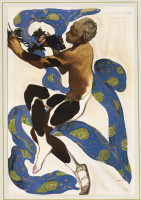 "Lev Samoilovich Bakst (Leon Bakst). Vaslav Nijinsky in the role of Faun in the ballet Debussy ""Afternoon of the Faun"""