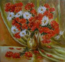 Владимир Иванович Осипов. Красно-белые ромашки, 40-40, д.м.,© ,01.18г.