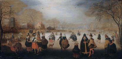 Адам ван Брин. Зимний пейзаж с элегантными фигуристами на льду замерзшего озера за городом