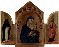 Дуччо ди Буонинсенья. Лондонский триптих, центральная часть: Мадонна с ангелом и пророками в тимпане, левая створка: св. Доминик