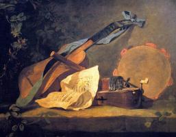 Жан Батист Симеон Шарден. Натюрморт с корзиной и музыкальными инструментами. Фрагмент