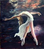 Silva Iosifovna Zalmanson. Ballerina on a background of a night landscape