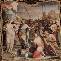 Доменико Беккафуми. Фрески палаццо Бинди Сегарди. Сцена: умеренность Сципиона