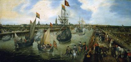 Адриан ван де Венне. Отплытие сановника из порта Мидделбург