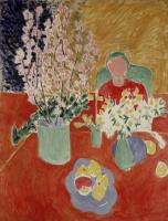 Henri Matisse. Flowers, plum, green background