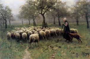 Антон Мауве. Стадо овец и пастушка