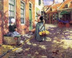 Джордж Хичкок. Девушка с корзиной с цветами