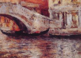 Уильям Меррит Чейз. Гондолы вдоль Венецианского канала