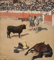 Рамон Касас Карбо. Bullfight. Horses killed by a bull