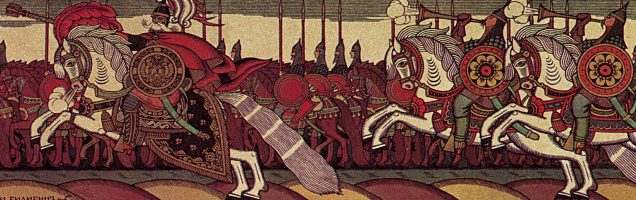 "Dadonovo army. U-turn. Illustration to ""The Tale of the Golden Cockerel"" by A. S. Pushkin. Fragment"