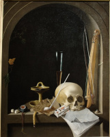 Still life with a skull in a niche