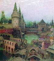 Аполлинарий Михайлович Васнецов. На рассвете у Воскресенского моста. Конец XVII века