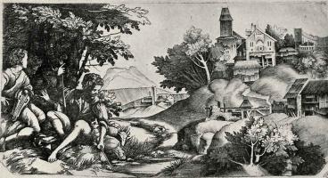 Джулио Кампаньола. Пастухи в пейзаже
