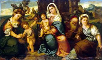 Бонифацио Веронезе. Мадонна с младенцем, святыми Екатериной и Иоанном Крестителем