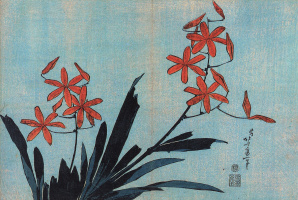Katsushika Hokusai. Orange orchids