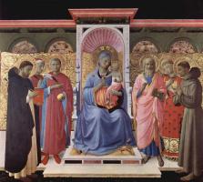 Фра Беато Анджелико. Мария с младенцем на троне со святыми