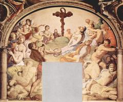 Аньоло Бронзино. Фрески капеллы Элеоноры Толедской в Палаццо Веккио во Флоренции, стена у входа: поклонение кресту с бронзовой змеёй. Деталь