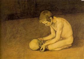 Энккелл. Ребенок играет с черепом