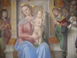 Джованни Санти. Мадонна с младенцем. Фреска Капеллы тиранов в церкви Св. Доминика