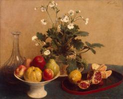 Henri Fantin-Latour. Flowers, fruit bowl and a decanter