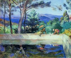 Анри Лебаск. Синее отражение в фонтане в Праде