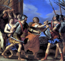 Джованни Франческо Гверчино. Герсилия, разнимающая Ромула и Тита Тация