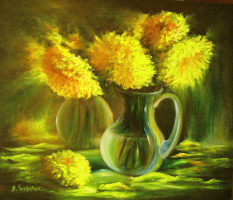 Андрей Иванович Боравик. Хризантемы (Желтые цветы)