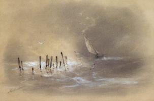 Ivan Aivazovsky. Sailboat in a storm