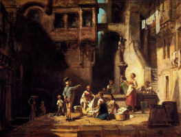 Karl Spitzweg. Washerwomen of the city fountain