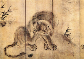 Хасэгава Тохаку. Тигр и бамбук