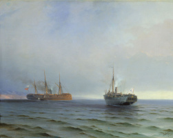 """Ivan Aivazovsky. The capture of the steamer """"Russia"""" Turkish military vehicles """"Messina"""" on the Black sea, 13 December 1877"""